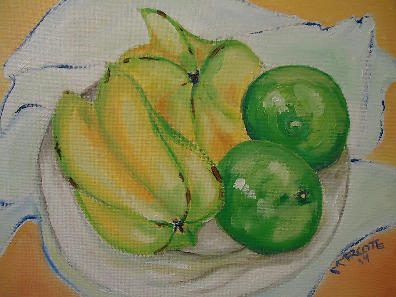 Painting Star Fruit and Limes by Michelle Marcotte