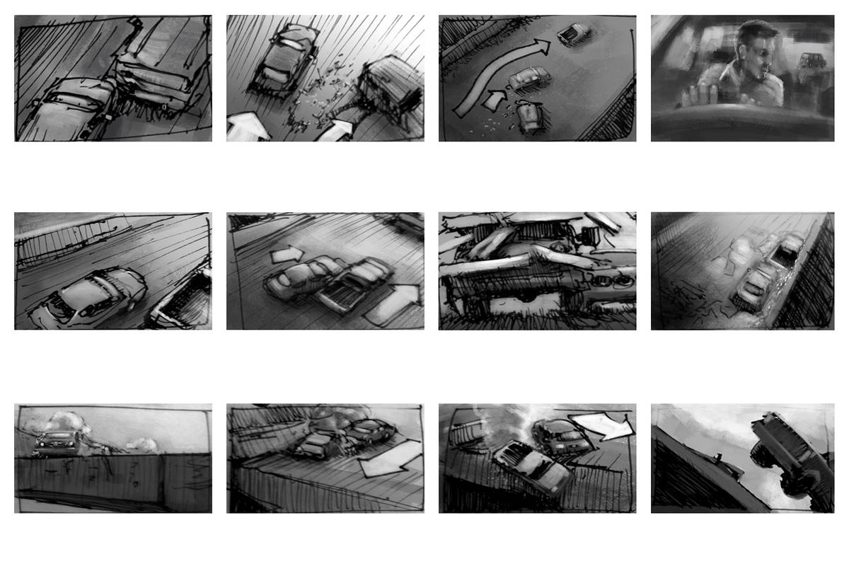 Drawing Chase sequence storyboards #2 by Hendrik Gericke