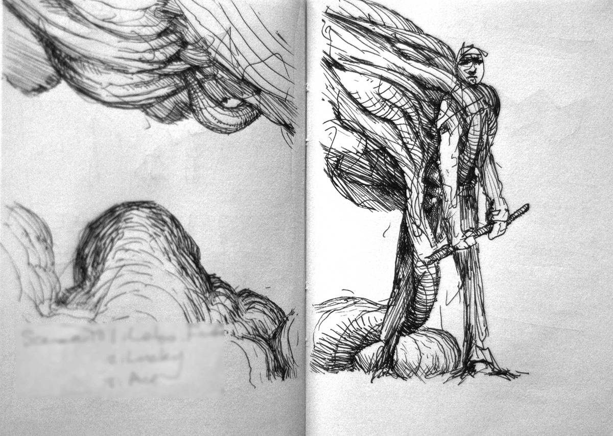 Drawing The Burden, sketchbook pages by Hendrik Gericke