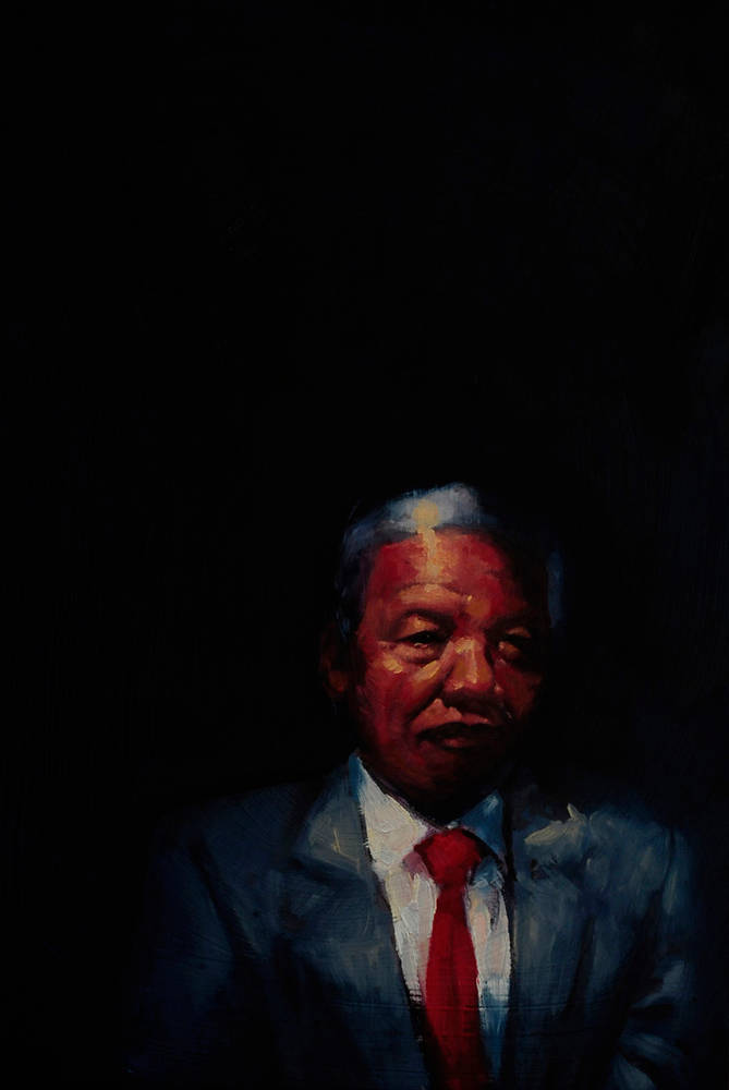 Oil painting Tata Madiba by Hendrik Gericke