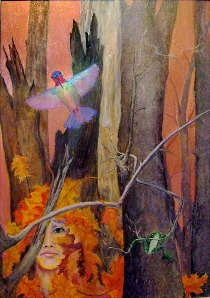 Acrylic painting Last Humming Bird by Frederica  Hall