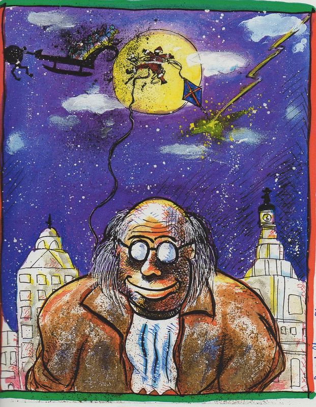 Drawing Christmas Ben Franklin by Joey Feldman