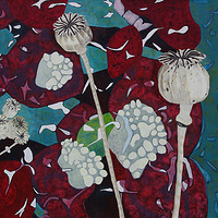 Acrylic painting Berries and Poppy Pods by Linda Henningson