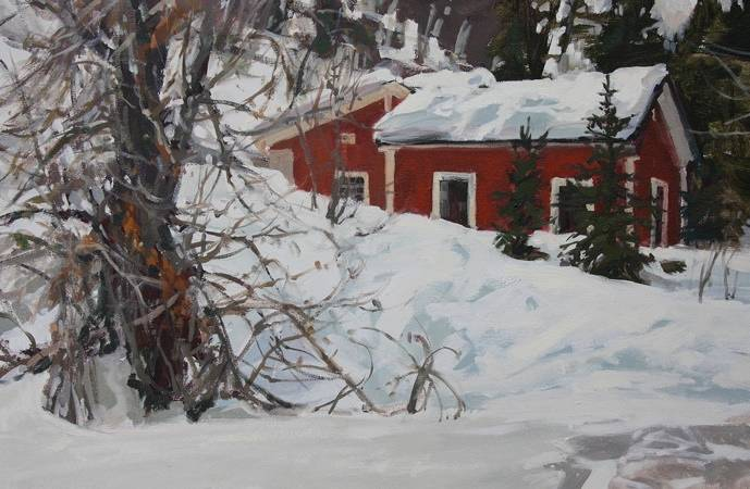 Painting Red Cottage Park City by Susette Gertsch