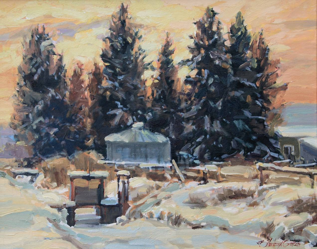 Oil painting Winter Homestead by Susette Gertsch