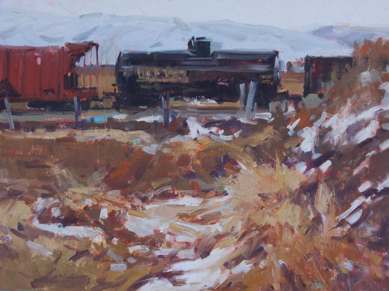 Oil painting Train on the Tracks by Susette Gertsch