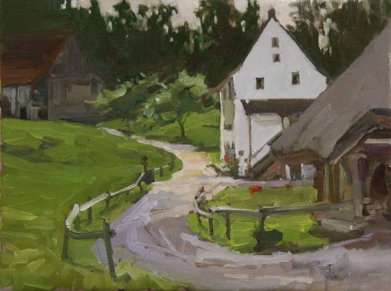 Painting Sur un chemise Suisse - On a Swiss Path by Susette Gertsch