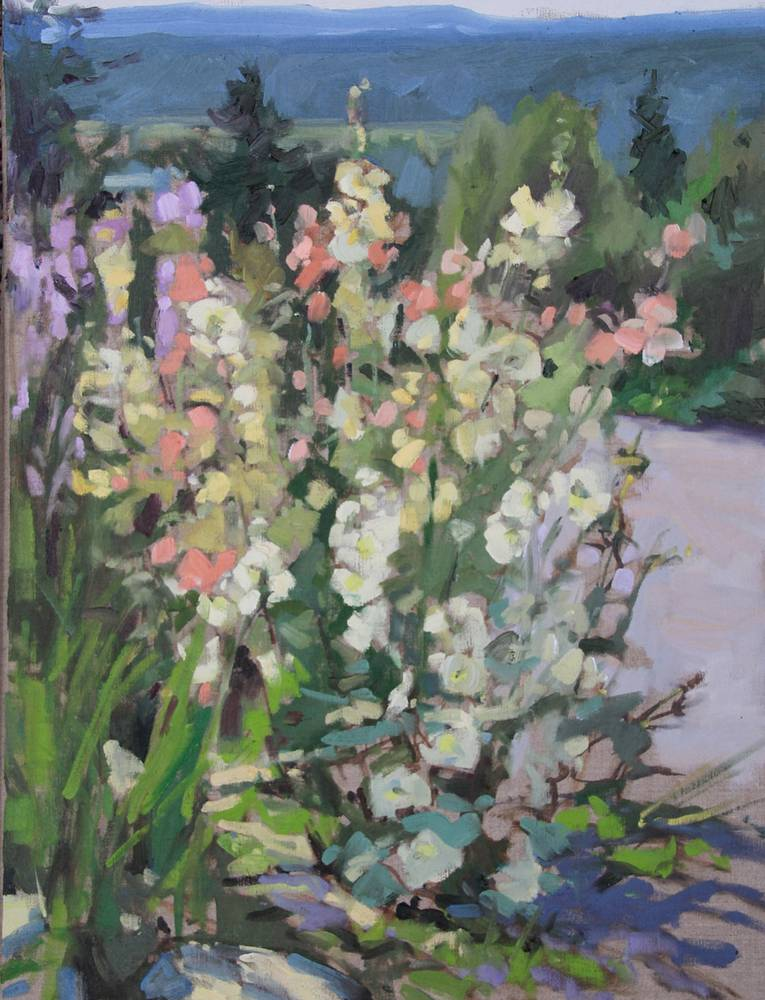 Bibler Garden Hollyhocks by Susette Gertsch