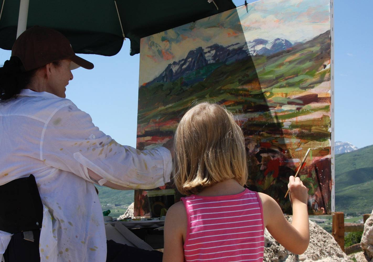 Painting the View from Memorial Hill, Midway, Utah by Susette Gertsch