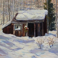 Oil painting Miner's Cabin by Susette Gertsch