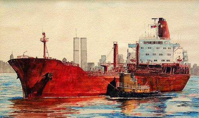 Watercolor The Red Tanker...SOLD!...Museum Purchase Award, Mystic Seaport, Mystic, CT. by Nella Lush
