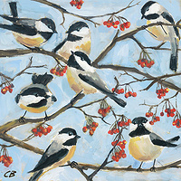 Print Seven Chickadees C003 by Cody Blomberg
