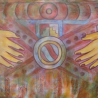 Acrylic painting Healing Hands of Tetitla by Emily K. Grieves