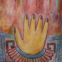 Acrylic painting Healing Hand of Tetitla by Emily K. Grieves