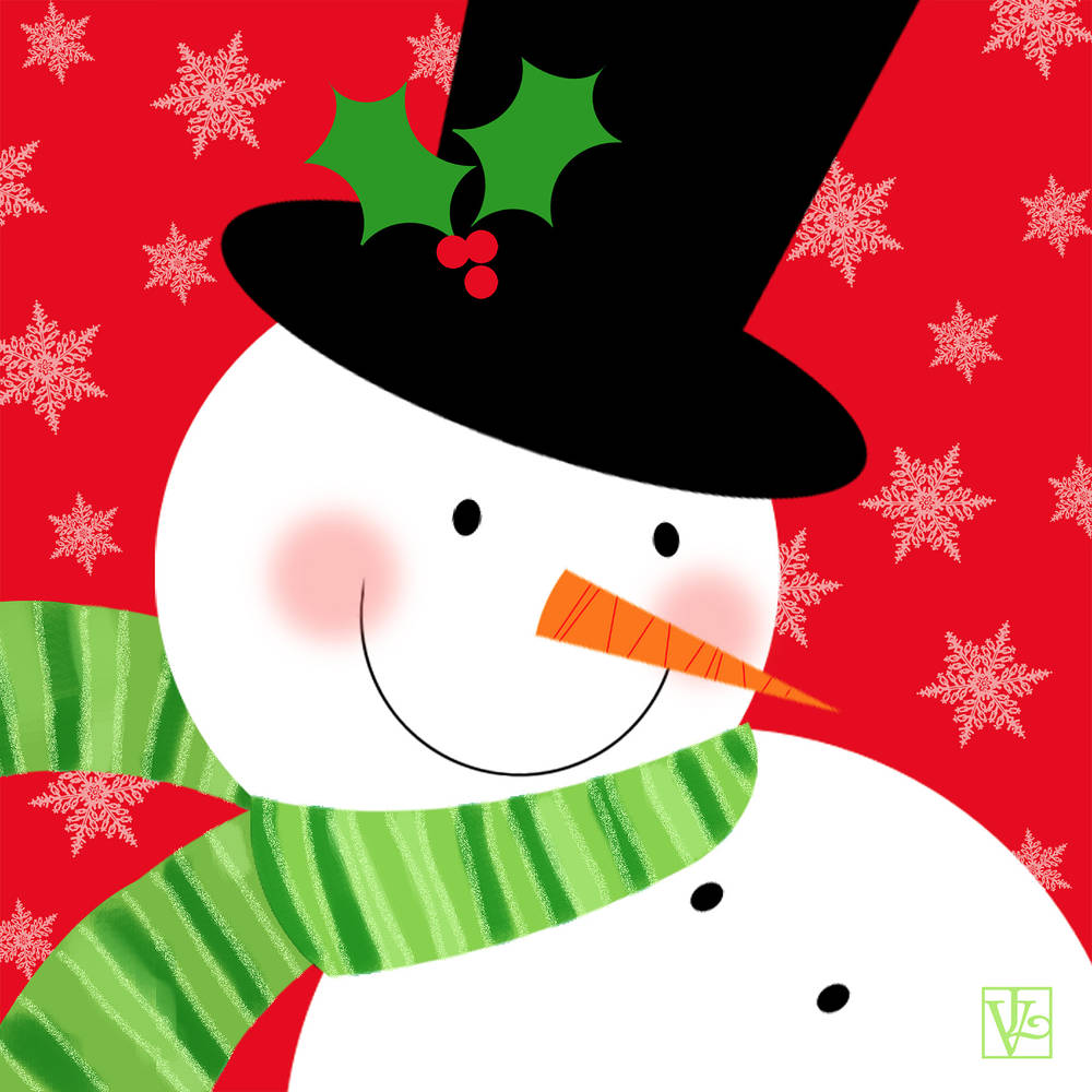 Snowman in Top Hat by Valerie Lesiak