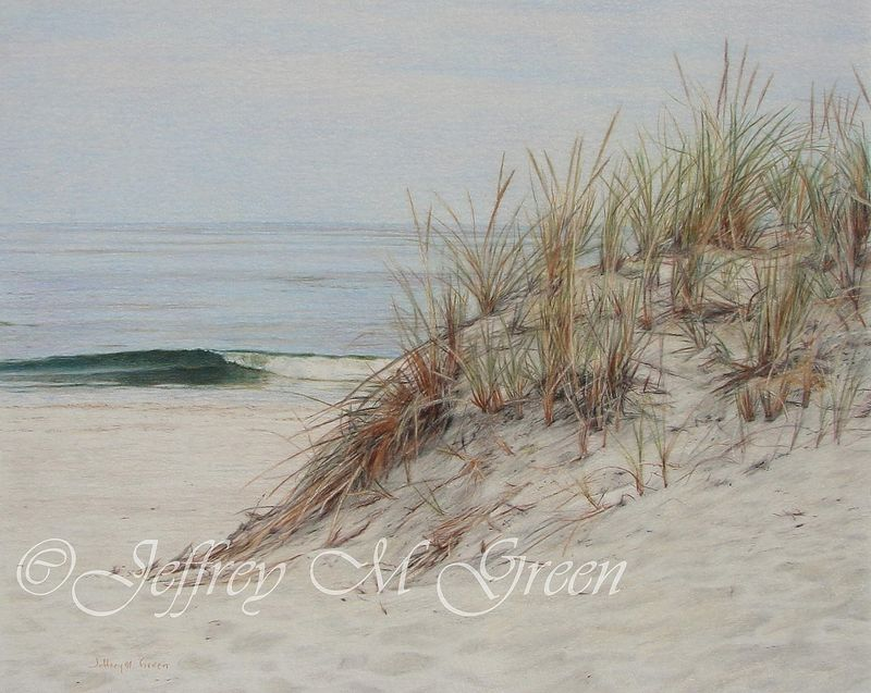 "© Jeffrey M Green. ""Island Beach Sand Dune"", 11"" x 14"", colored pencils. by Jeffrey Green"