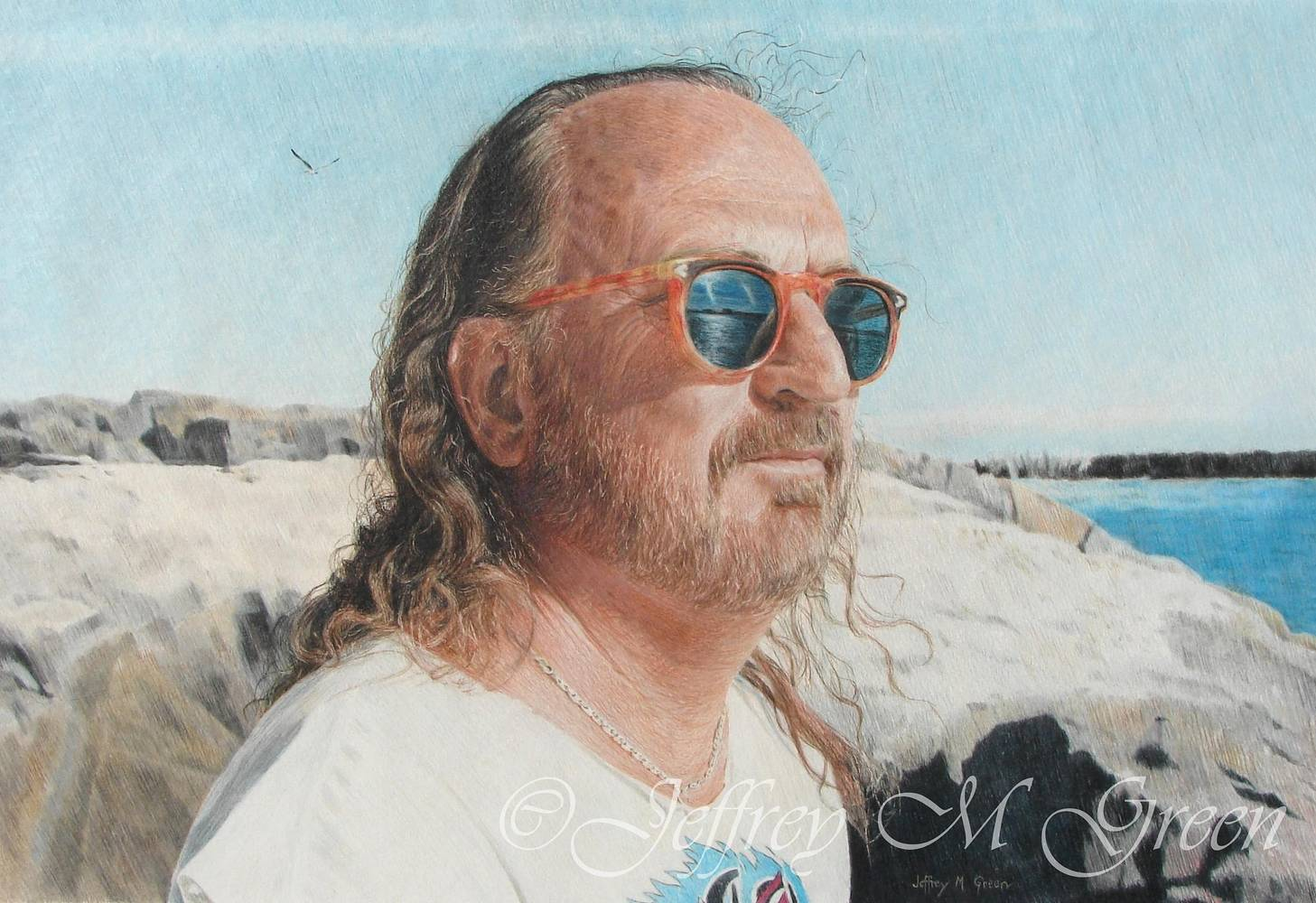 "© Jeffrey M Green. Portrait, Robert T. Green, 15"" x 21 1/2"", colored pencils. by Jeffrey Green"