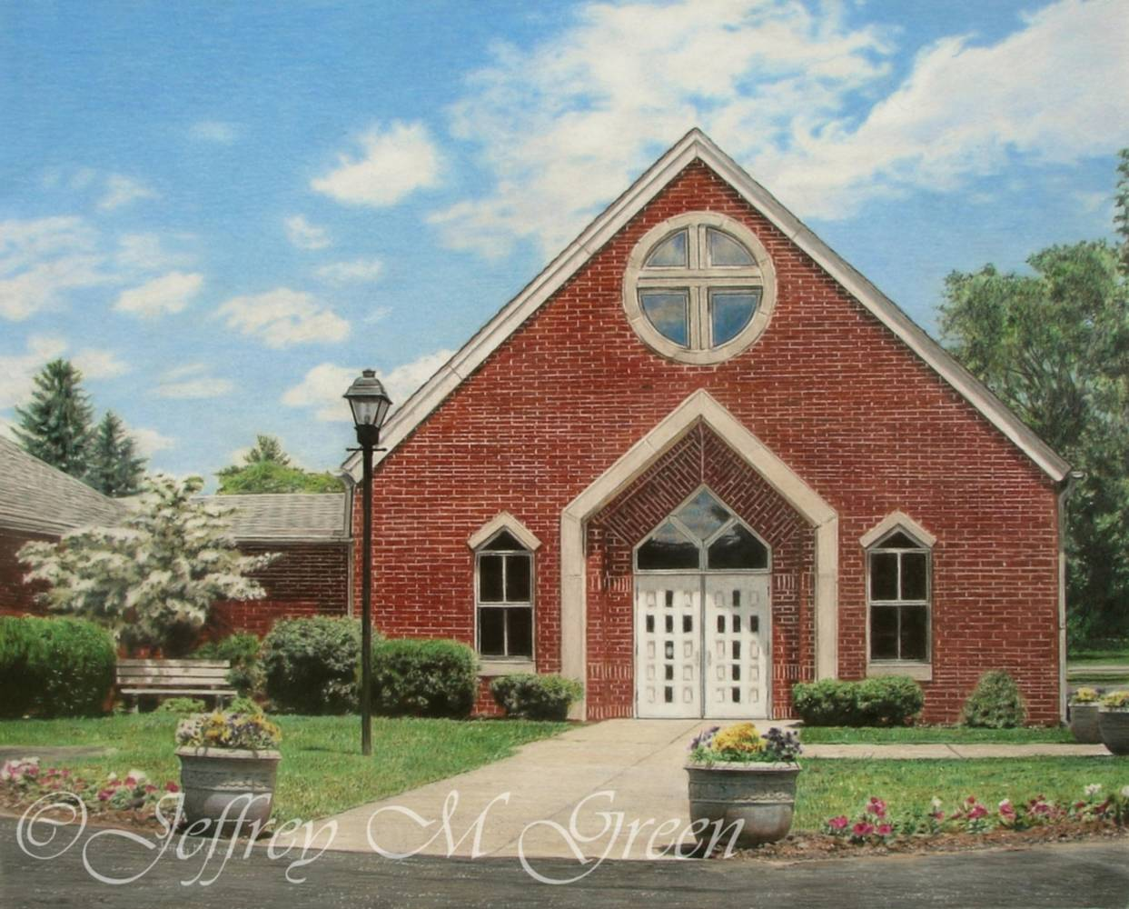 "© Jeffrey M Green. Faith Lutheran Church, Sullivan Trail, Forks Township, PA, 16"" x 20"". by Jeffrey Green"