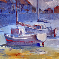 Acrylic painting Boats in harbor by Allen  Wittert