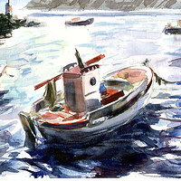 Watercolor Santorini fishing boat by Allen  Wittert