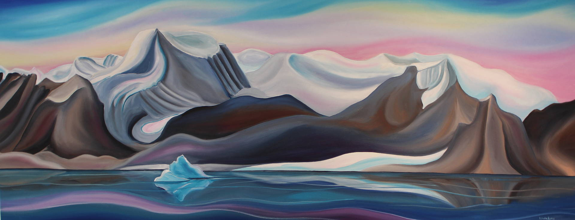 Oil painting View of Bylot Island (from Pond Inlet) by Linda Lang