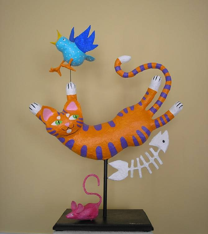 happy cat sculpture by Valerie Johnson