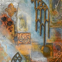 Mixed-media artwork Veiled by Karen Holland