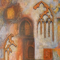 Mixed-media artwork Keys by Karen Holland