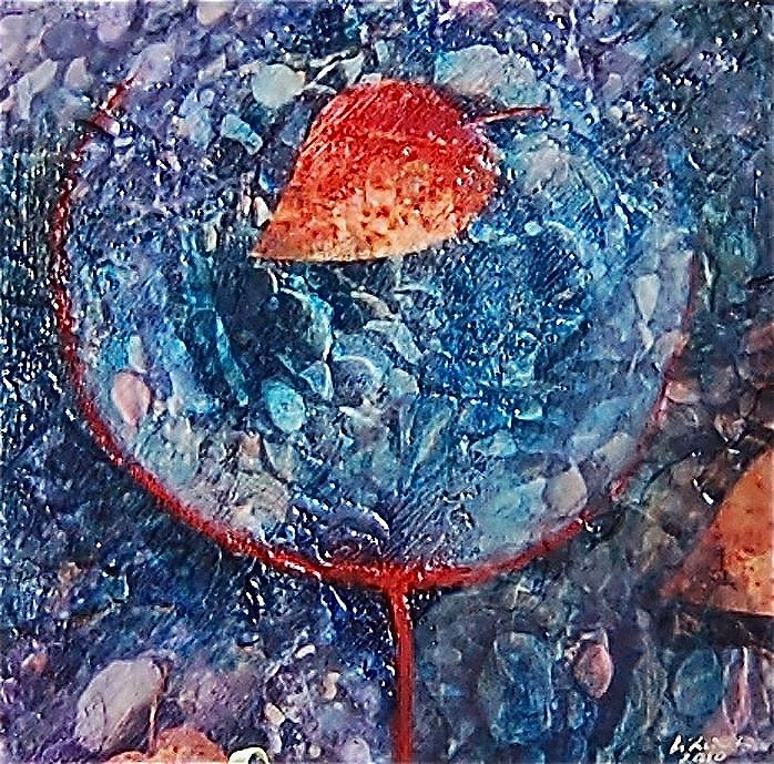 Oil painting Red Leaf and Rocks by Liba Labik