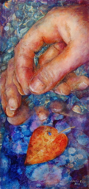 Oil painting Touch the Leaf by Liba Labik