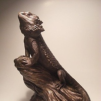 "Painting Bearded Dragon sculpture ""Watching Over"" by Jason  Shanaman"