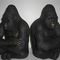 Sculpture Mountain Gorilla Silverback bookends by Jason  Shanaman