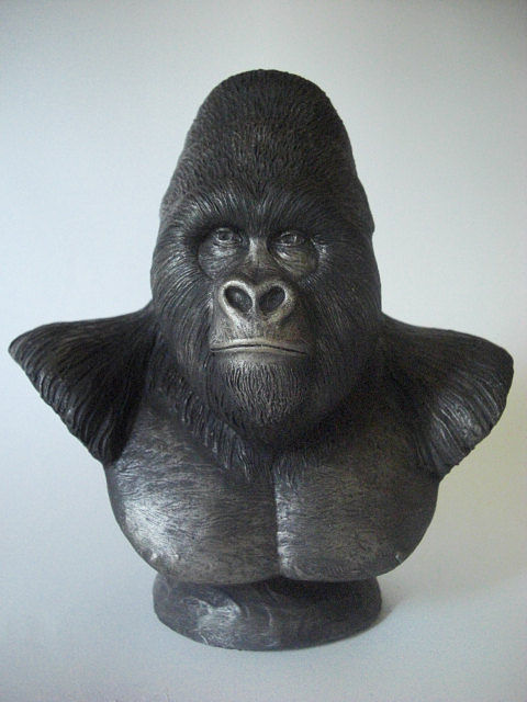 Painting Mountain Gorilla bust sculpture by Jason  Shanaman