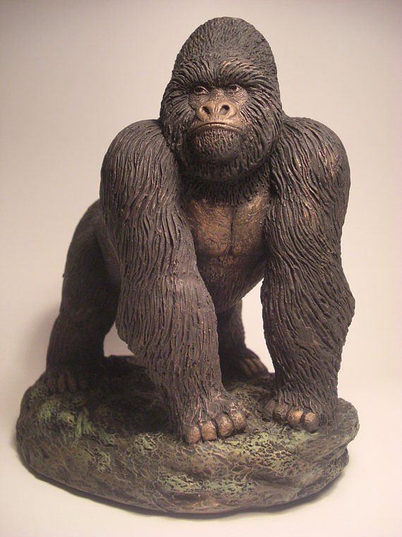 Painting Mountain Gorilla Silverback sculpture by Jason  Shanaman