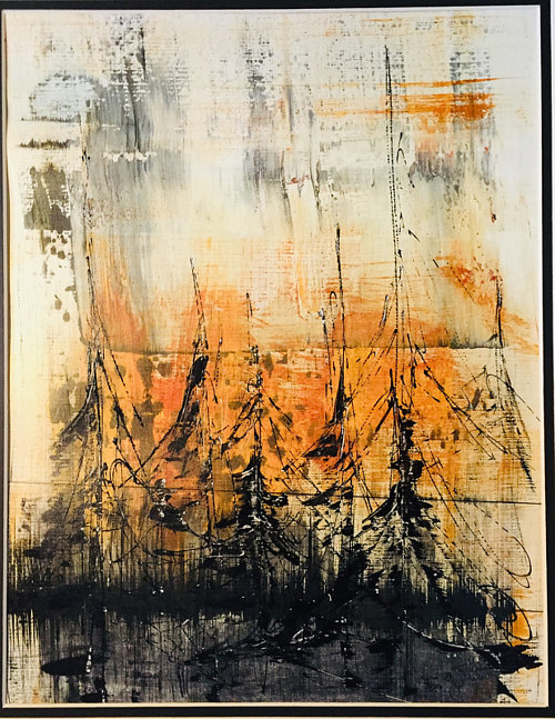 A painting with warm orange tones and heavy black abstract details