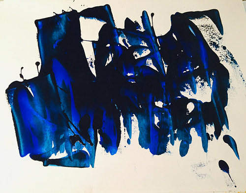 A painting made using blue pigment on white ground