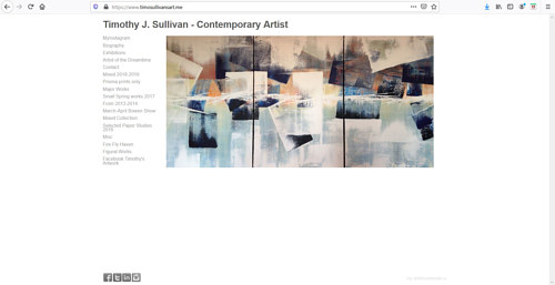 The front page of Timothy J. Sullivan's art portfolio website