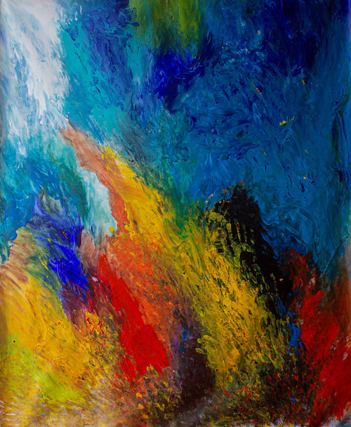 An abstract painting using bright primary colours