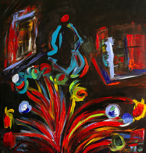 An abstracted painting with suggestions of floral and plant forms