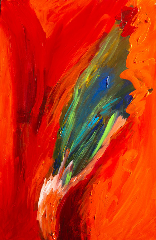 A painting with bright red hues and a deep green shape