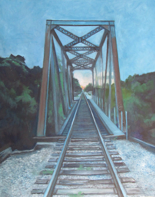 A painting of a bridge in morning light