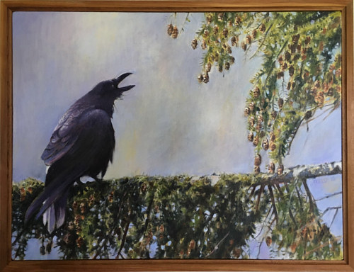 A painting of a raven sitting in a tree