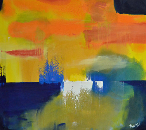 An abstract painting with warm colours and a straight horizon line