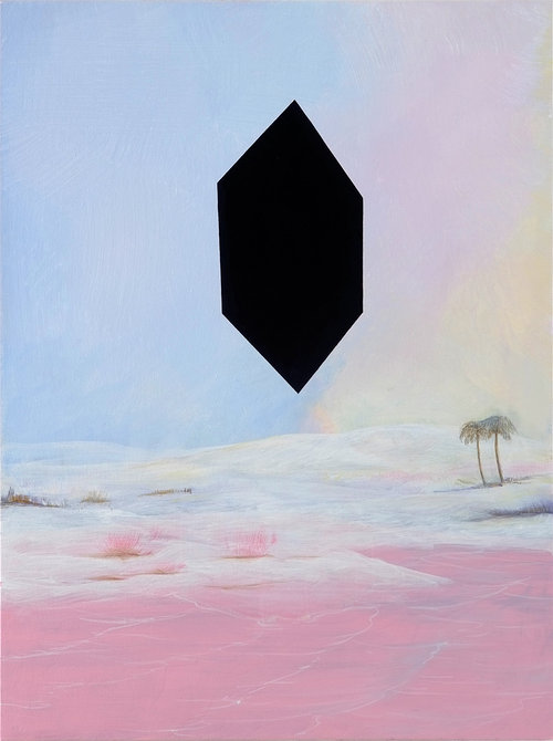 pink snow scene painting with a black shape in the middle