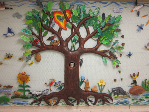 A paper-mache mural made by an elementary school class