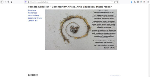 A screen capture of Pamela Schuller's art portfolio website