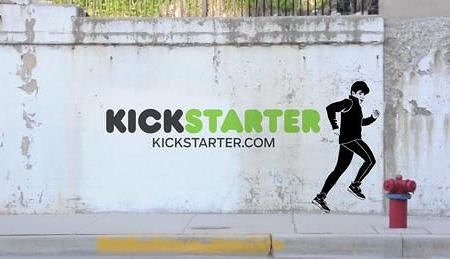 Photo of mural on wall with Kickstarter text and image of jogger