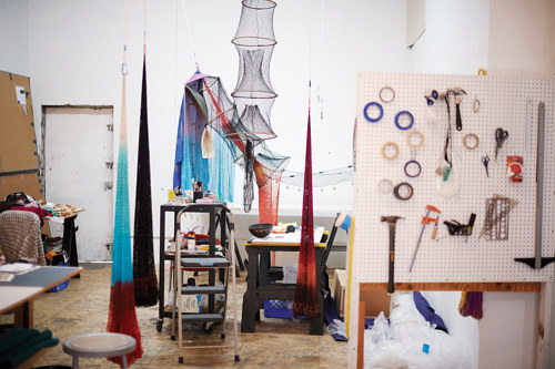 A photo inside Carolina Caycedo's California art studio