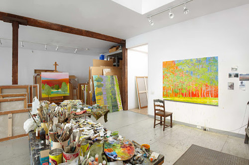 A photo of the studio of late painter Wolf Kahn