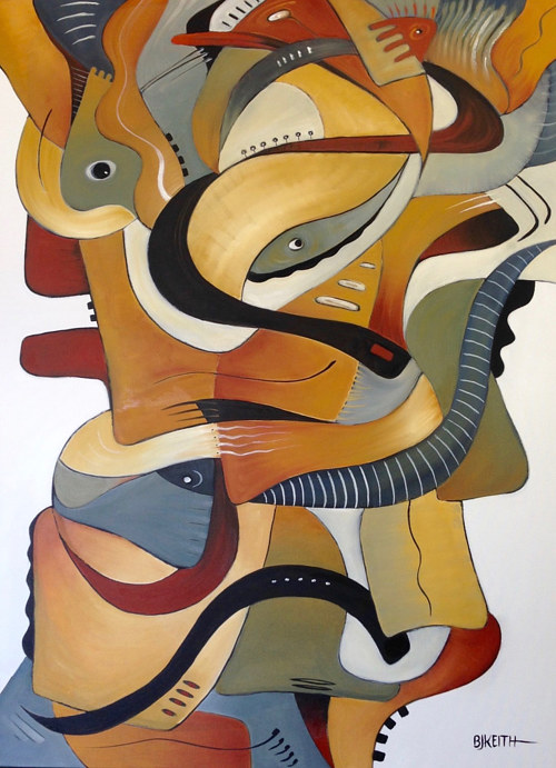 A painting of abstract organic forms